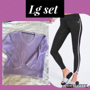 Vs pink v Neck sweater curved hem ankle leggings